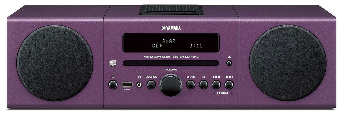 yamaha mcr 042 micro component system w ipod dock purple. Black Bedroom Furniture Sets. Home Design Ideas