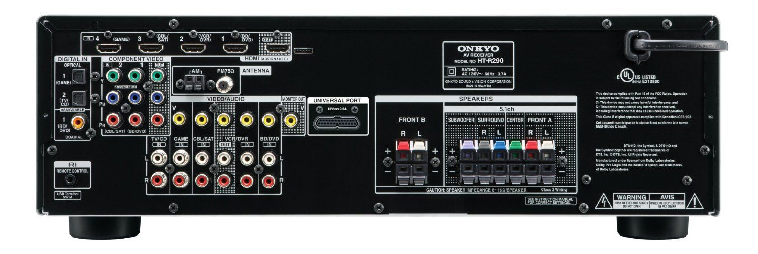 onkyo ht r290 5 1 home theater receiver from av x290 accessories4less