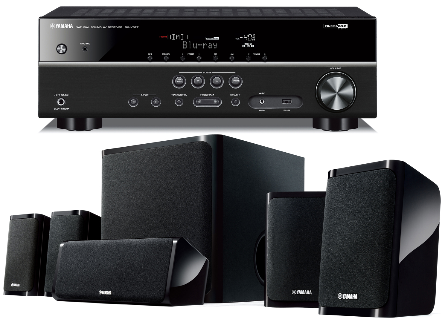 Yamaha yht 4910u 5 1 channel home theater system for Yamaha home stereo systems