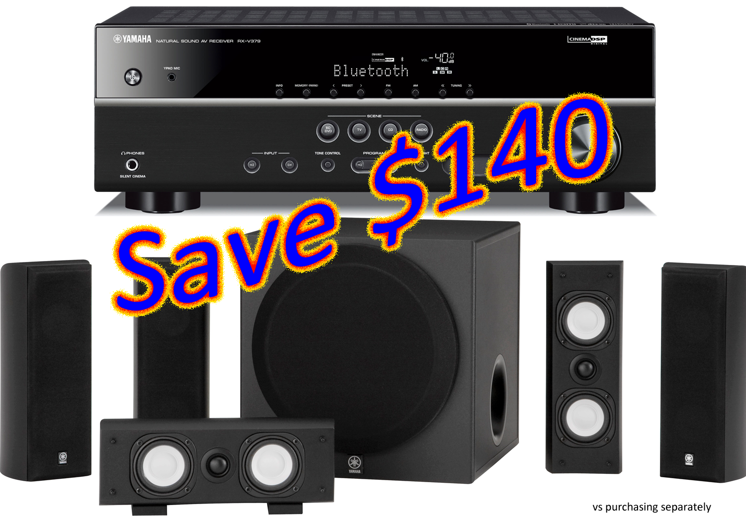 Yamaha rx v379 receiver ns sp3800 speaker package sale for Yamaha ns 50 speaker pack