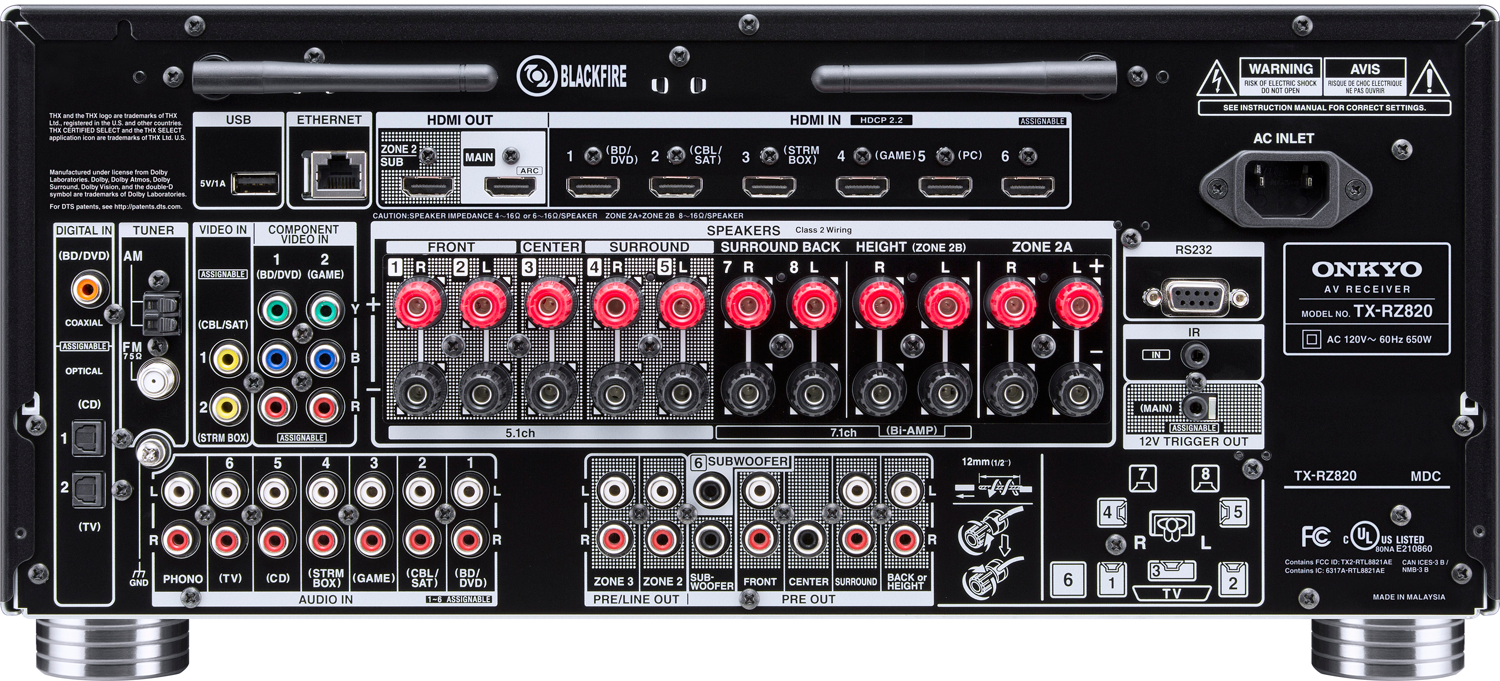 Onkyo Tx Rz820 72 Ch X 130 Watts Thx Networking A V Receiver Ampcircuits Surround Amplifier Circuit With Tda7053 Zoom