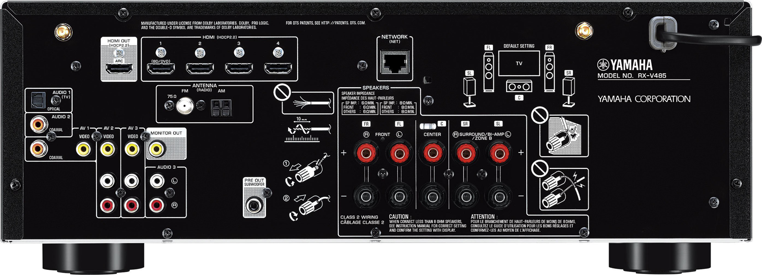 yamaha rx v485 5 1 ch x 80 watts a v receiver. Black Bedroom Furniture Sets. Home Design Ideas