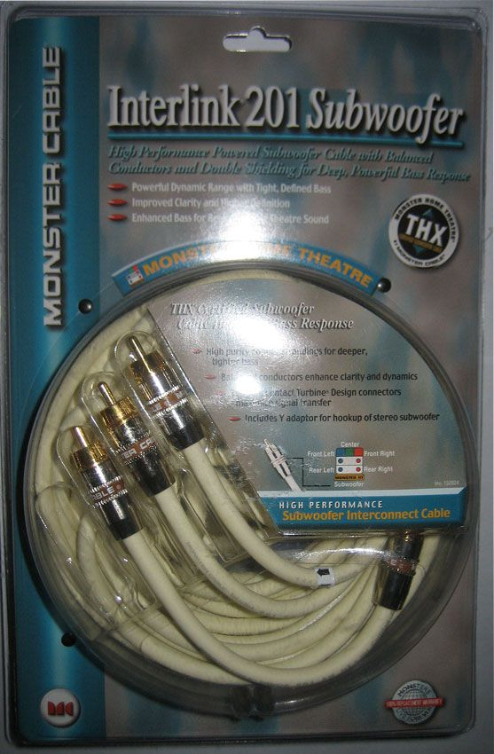 MONSTER CABLE I201 Interlink 201 Subwoofer Cable W/t Adapter 8ft