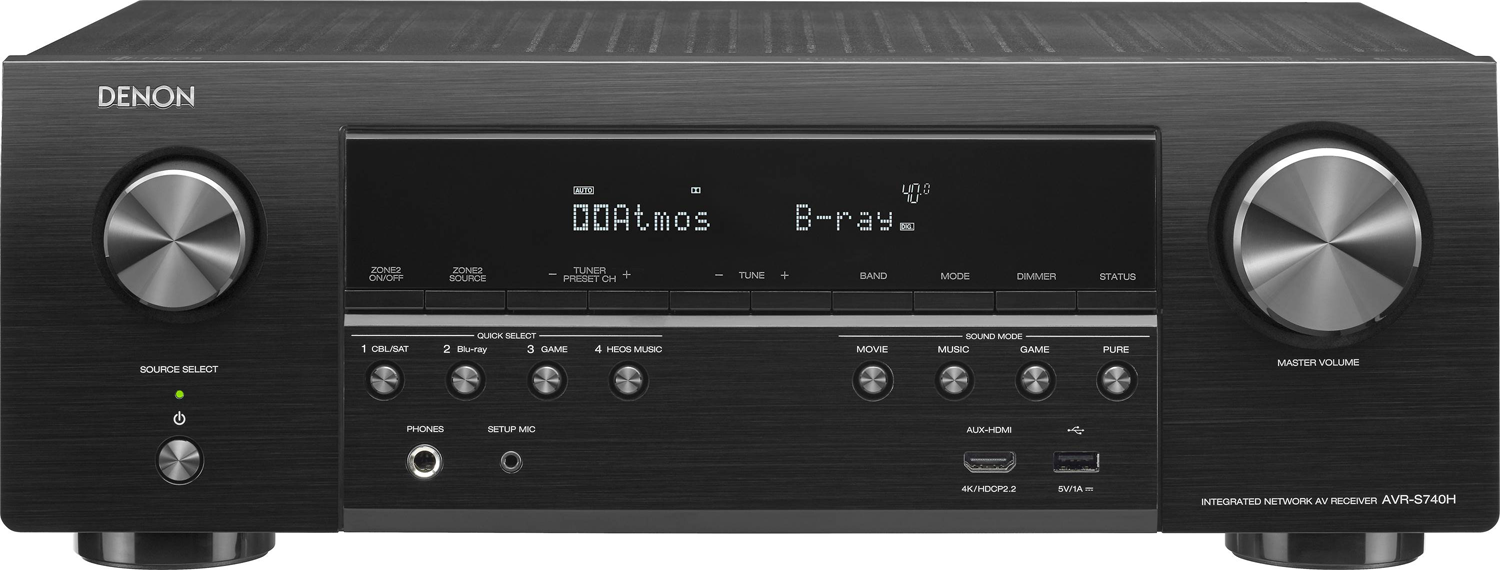 DENON AVR-S740H 7.2-Ch x 75 Watts Networking A/V Receiver w/HEOS