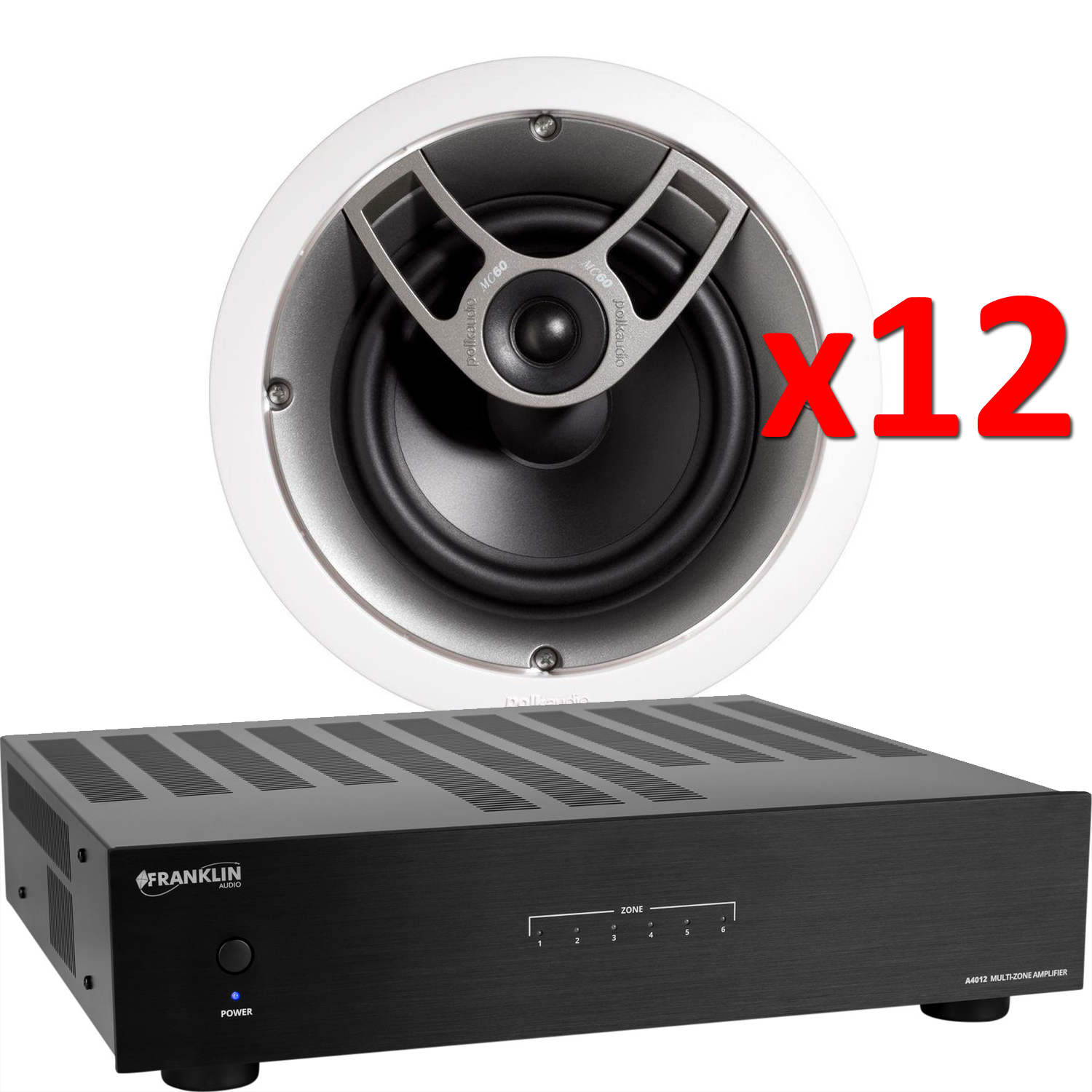 FRANKLIN AUDIO A4012 6 Zone amplified package w/12 POLK IC60 Inceiling Speakers